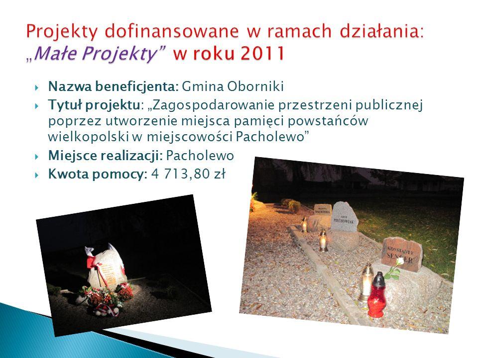 Nazwa beneficjenta: Gmina Oborniki Tytuł projektu: Zagospodarowanie przestrzeni publicznej poprzez utworzenie miejsca pamięci powstańców wielkopolski