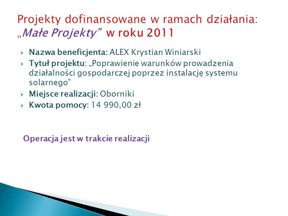 Nazwa beneficjenta: ALEX Krystian Winiarski Tytuł projektu: Poprawienie warunków prowadzenia działalności gospodarczej poprzez instalację systemu sola