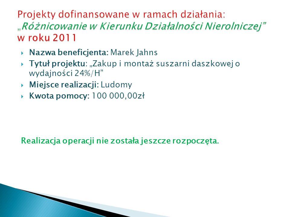 Nazwa beneficjenta: Marek Jahns Tytuł projektu: Zakup i montaż suszarni daszkowej o wydajności 24%/H Miejsce realizacji: Ludomy Kwota pomocy: 100 000,