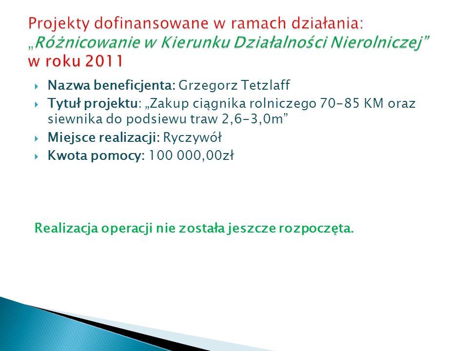 Nazwa beneficjenta: Grzegorz Tetzlaff Tytuł projektu: Zakup ciągnika rolniczego 70-85 KM oraz siewnika do podsiewu traw 2,6-3,0m Miejsce realizacji: R