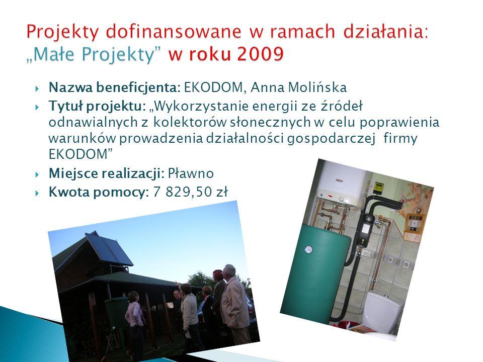 Nazwa beneficjenta: EKODOM, Anna Molińska Tytuł projektu: Wykorzystanie energii ze źródeł odnawialnych z kolektorów słonecznych w celu poprawienia war