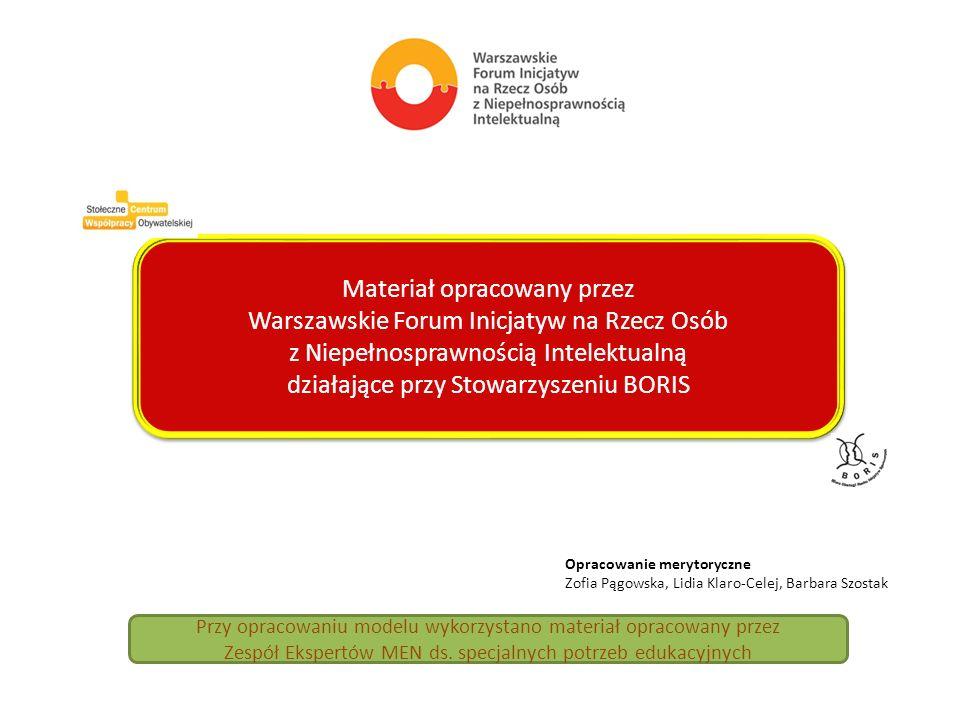 Materiał opracowany przez Warszawskie Forum Inicjatyw na Rzecz Osób z Niepełnosprawnością Intelektualną działające przy Stowarzyszeniu BORIS Materiał