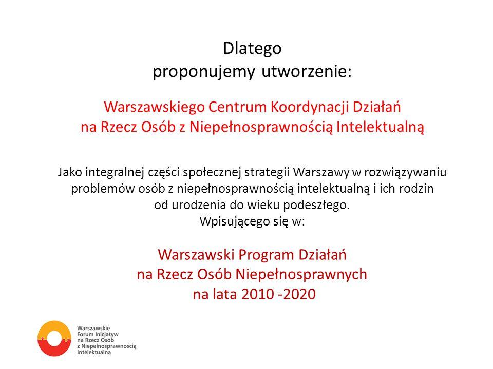 Dlatego proponujemy utworzenie: Warszawskiego Centrum Koordynacji Działań na Rzecz Osób z Niepełnosprawnością Intelektualną Jako integralnej części sp
