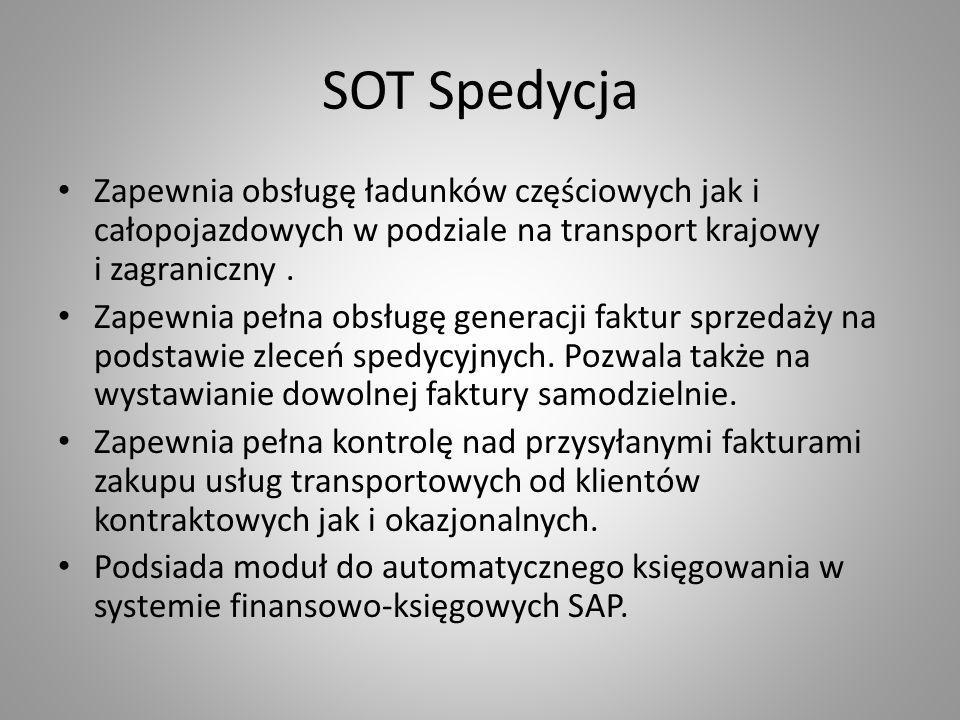 SOT Spedycja Zapewnia obsługę ładunków częściowych jak i całopojazdowych w podziale na transport krajowy i zagraniczny. Zapewnia pełna obsługę generac
