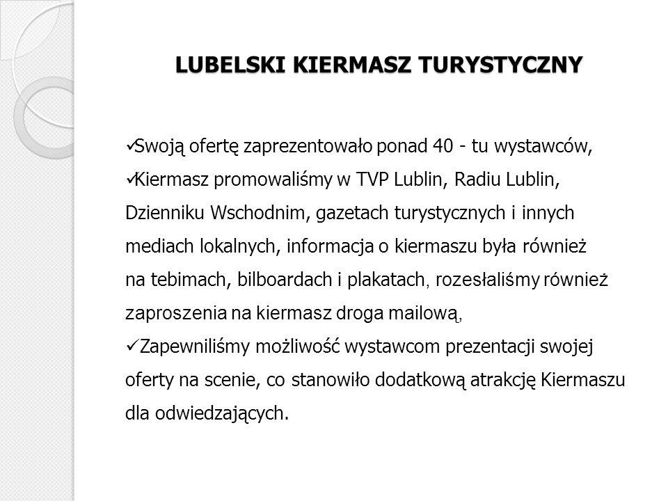 LUBELSKI KIERMASZ TURYSTYCZNY Swoją ofertę zaprezentowało ponad 40 - tu wystawców, Kiermasz promowaliśmy w TVP Lublin, Radiu Lublin, Dzienniku Wschodn