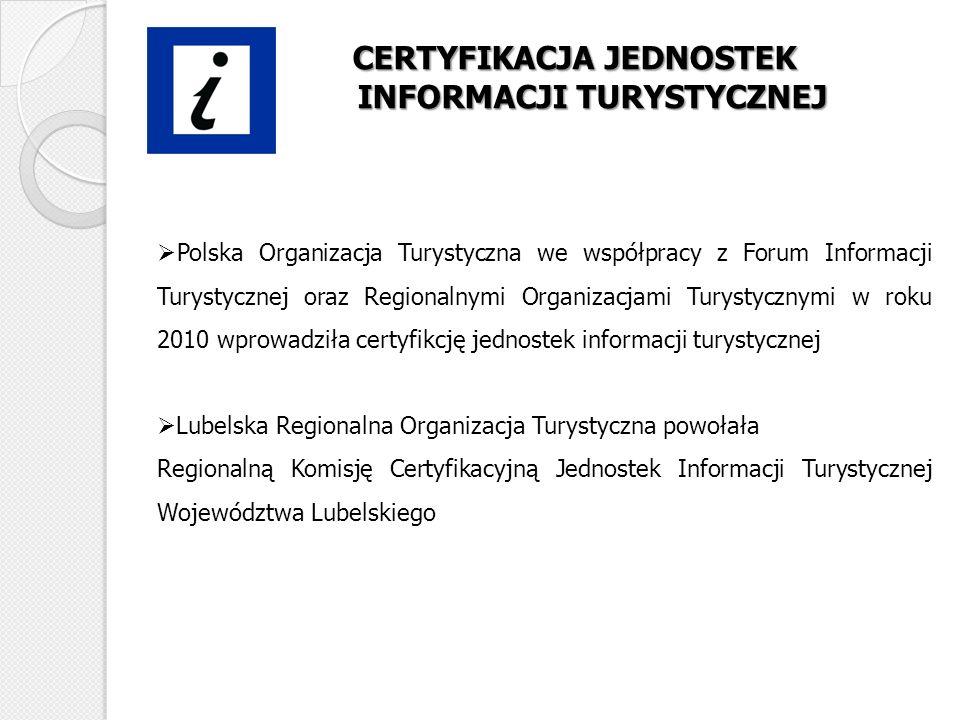 CERTYFIKACJA JEDNOSTEK INFORMACJI TURYSTYCZNEJ Polska Organizacja Turystyczna we współpracy z Forum Informacji Turystycznej oraz Regionalnymi Organiza