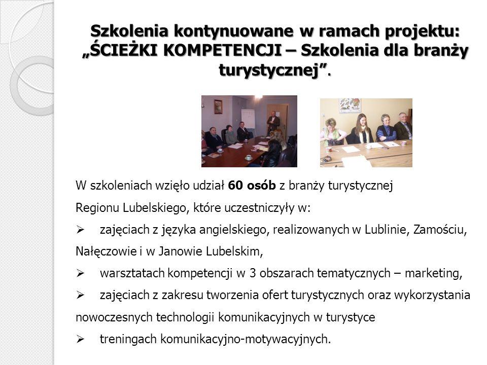 Szkolenia kontynuowane w ramach projektu: ŚCIEŻKI KOMPETENCJI – Szkolenia dla branży turystycznej. W szkoleniach wzięło udział 60 osób z branży turyst
