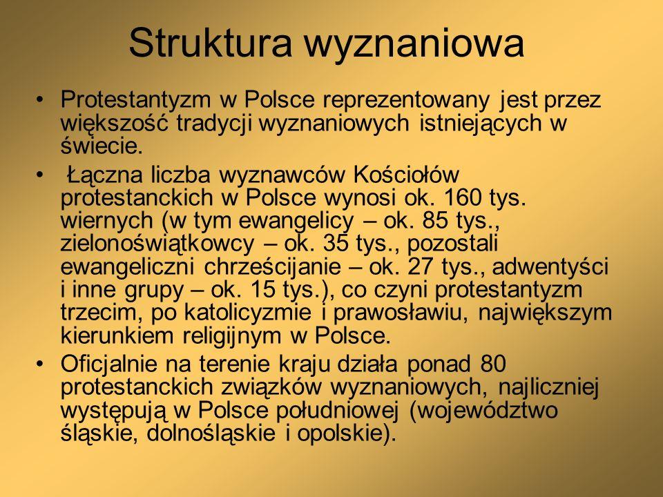 Struktura wyznaniowa Protestantyzm w Polsce reprezentowany jest przez większość tradycji wyznaniowych istniejących w świecie. Łączna liczba wyznawców