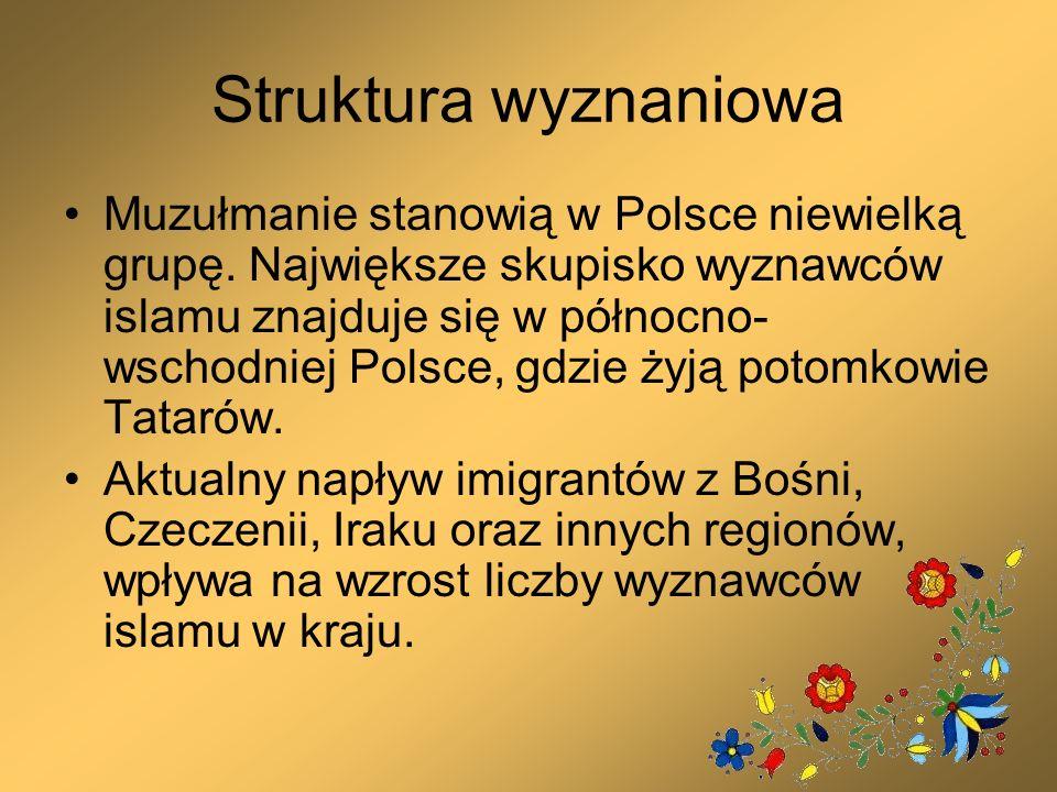 Struktura wyznaniowa Muzułmanie stanowią w Polsce niewielką grupę. Największe skupisko wyznawców islamu znajduje się w północno- wschodniej Polsce, gd