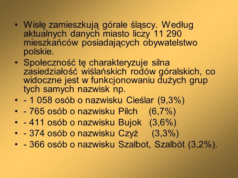 Wisłę zamieszkują górale śląscy. Według aktualnych danych miasto liczy 11 290 mieszkańców posiadających obywatelstwo polskie. Społeczność tę charakter