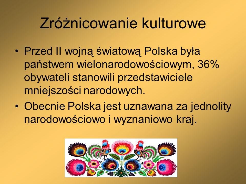 Zróżnicowanie kulturowe Przed II wojną światową Polska była państwem wielonarodowościowym, 36% obywateli stanowili przedstawiciele mniejszości narodow