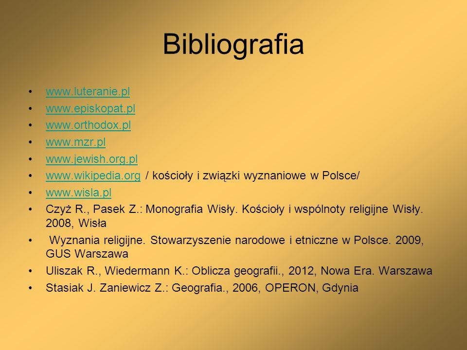 Bibliografia www.luteranie.pl www.episkopat.pl www.orthodox.pl www.mzr.pl www.jewish.org.pl www.wikipedia.org / kościoły i związki wyznaniowe w Polsce