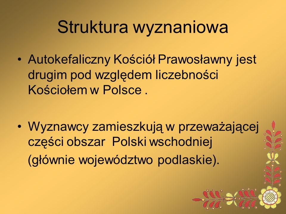 Struktura wyznaniowa Autokefaliczny Kościół Prawosławny jest drugim pod względem liczebności Kościołem w Polsce. Wyznawcy zamieszkują w przeważającej
