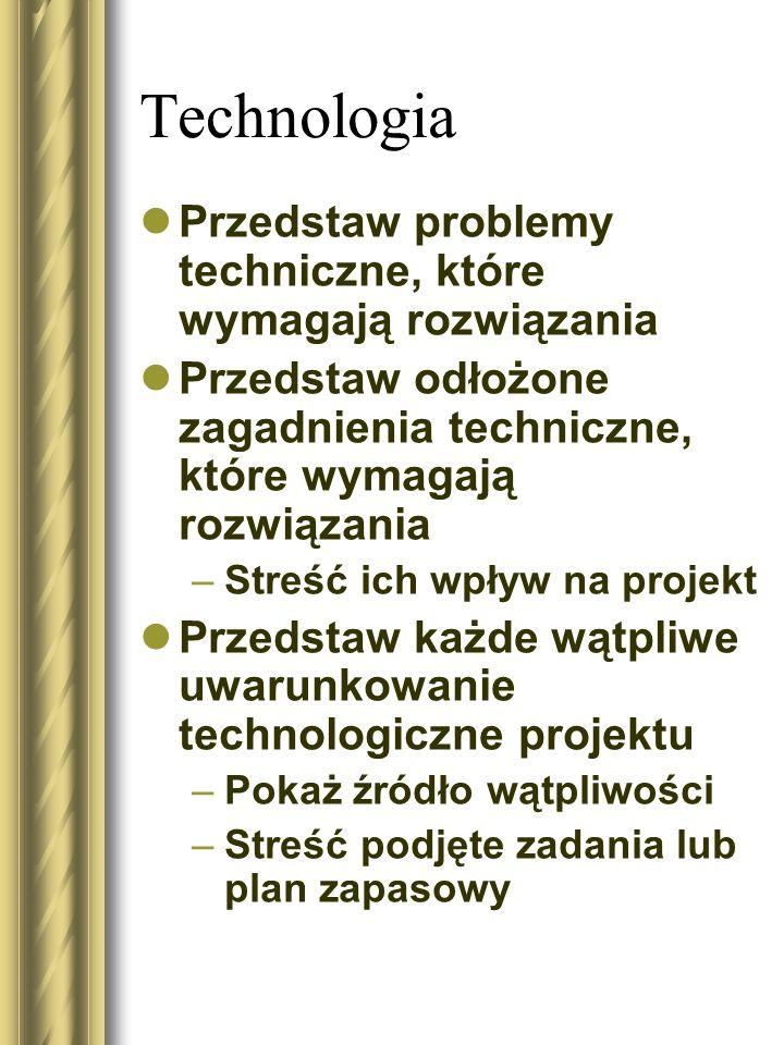 Technologia Przedstaw problemy techniczne, które wymagają rozwiązania Przedstaw odłożone zagadnienia techniczne, które wymagają rozwiązania –Streść ic