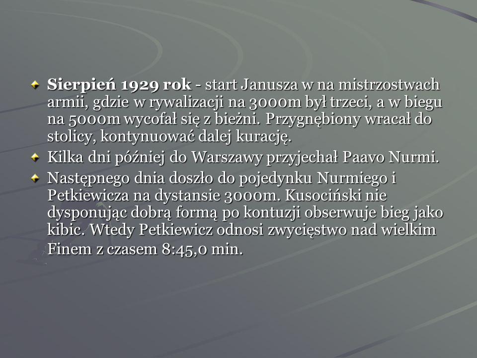 1-2 czerwca 1929 rok -odbył się w Rydze Trójmecz Bałtycki między reprezentacjami Estonii, Łotwy i Polski. Tam Kusociński był pierwszy w biegu na 1500m