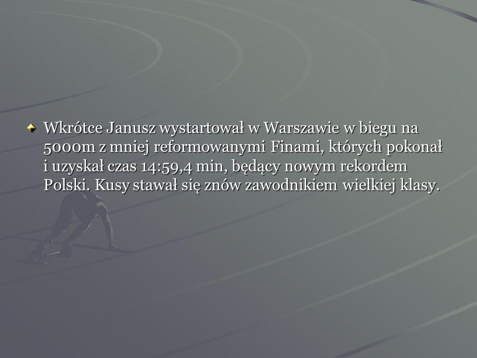 Wiosna 1930 rok -Kusociński wygrywa bieg przełajowy w Katowicach, a nieco później pokonuje Petkiewicza w Biegu Narodowym. Czerwiec 1930 rok –Kusocińsk