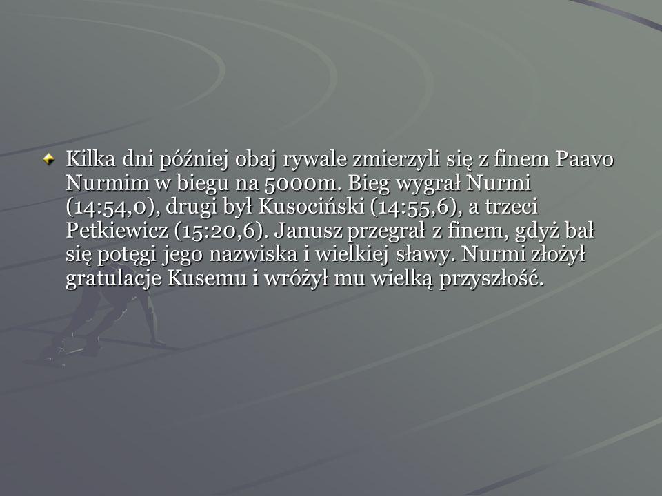 Wrzesień 1930 rok -odbył się w Bernie międzypaństwowy mecz lekkoatletyczny Polska- Czechosłowacja. Tam Janusz pokonał Petkiewicza i Czechów.