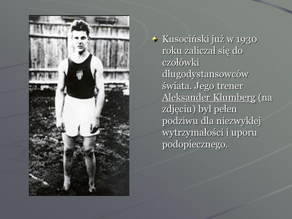 Janusz Kusociński przed startem z wielkim Paavo Nurmim (pierwszy od prawej strony) na biegu 5000m