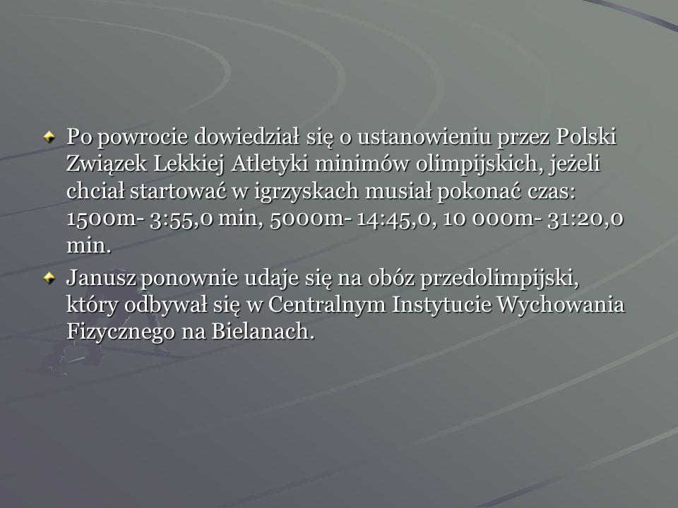 1931 roku został ogłoszony przez ankiety Przeglądu Sportowego najlepszym sportowcem Polski. Zima 1932 rok -Janusz przygotowuje się do lekkoatletycznej