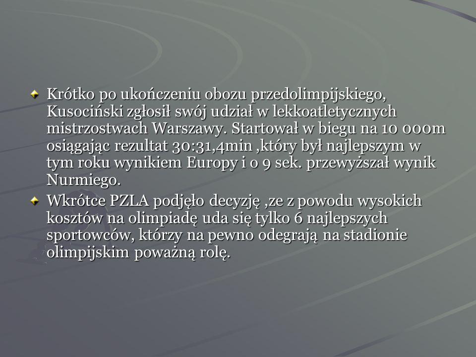 Po powrocie dowiedział się o ustanowieniu przez Polski Związek Lekkiej Atletyki minimów olimpijskich, jeżeli chciał startować w igrzyskach musiał poko
