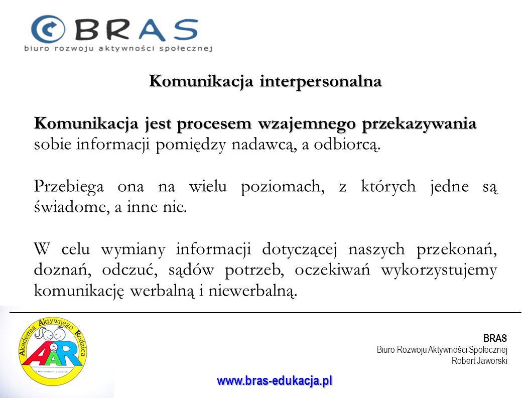 BRAS Biuro Rozwoju Aktywności Społecznej Robert Jaworski www.bras-edukacja.pl Komunikacja interpersonalna Komunikacja jest procesem wzajemnego przekaz