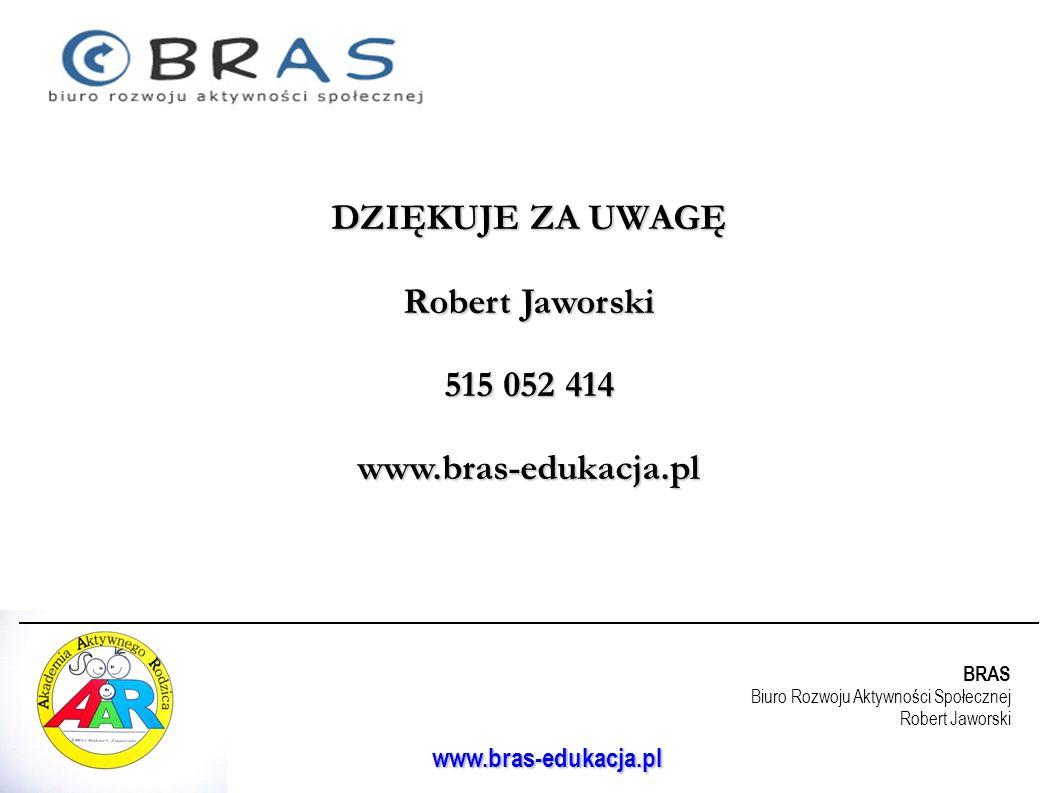 BRAS Biuro Rozwoju Aktywności Społecznej Robert Jaworski www.bras-edukacja.pl DZIĘKUJE ZA UWAGĘ Robert Jaworski 515 052 414 www.bras-edukacja.pl