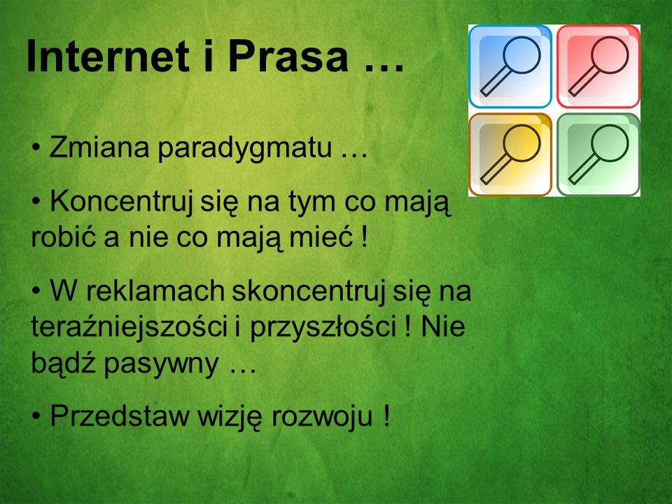 Internet i Prasa … Zmiana paradygmatu … Koncentruj się na tym co mają robić a nie co mają mieć ! W reklamach skoncentruj się na teraźniejszości i przy