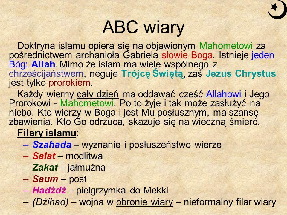ABC wiary Doktryna islamu opiera się na objawionym Mahometowi za pośrednictwem archanioła Gabriela słowie Boga. Istnieje jeden Bóg: Allah. Mimo że isl
