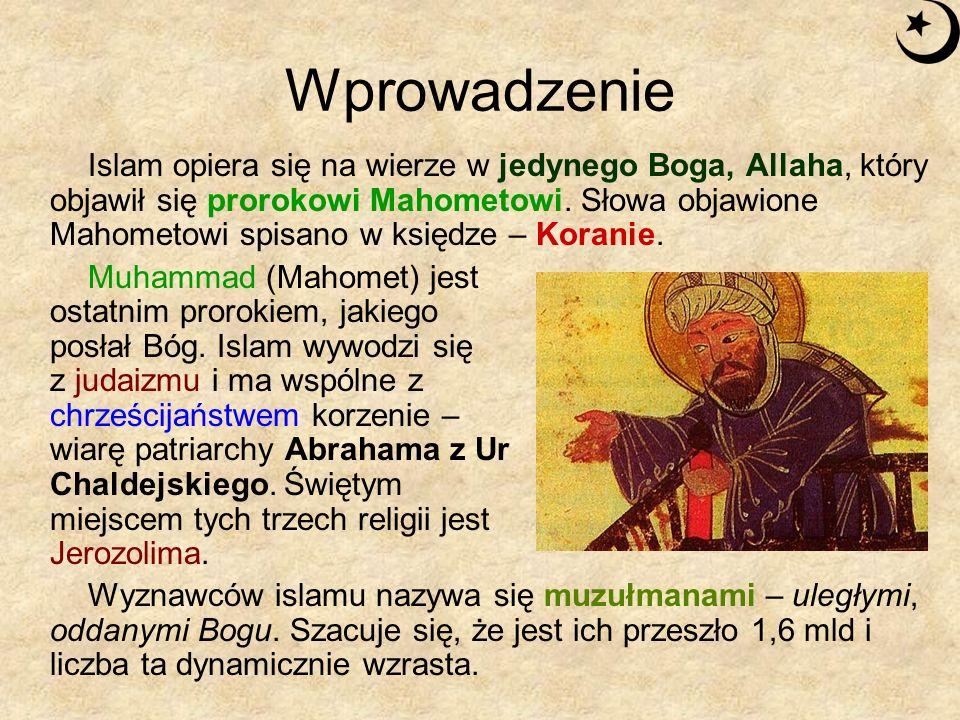 Wprowadzenie Islam opiera się na wierze w jedynego Boga, Allaha, który objawił się prorokowi Mahometowi. Słowa objawione Mahometowi spisano w księdze