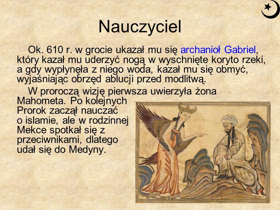 Nauczyciel Ucieczka z Mekki do Medyny w 622 r.po Chrystusie wyznacza początek ery muzułmańskiej.