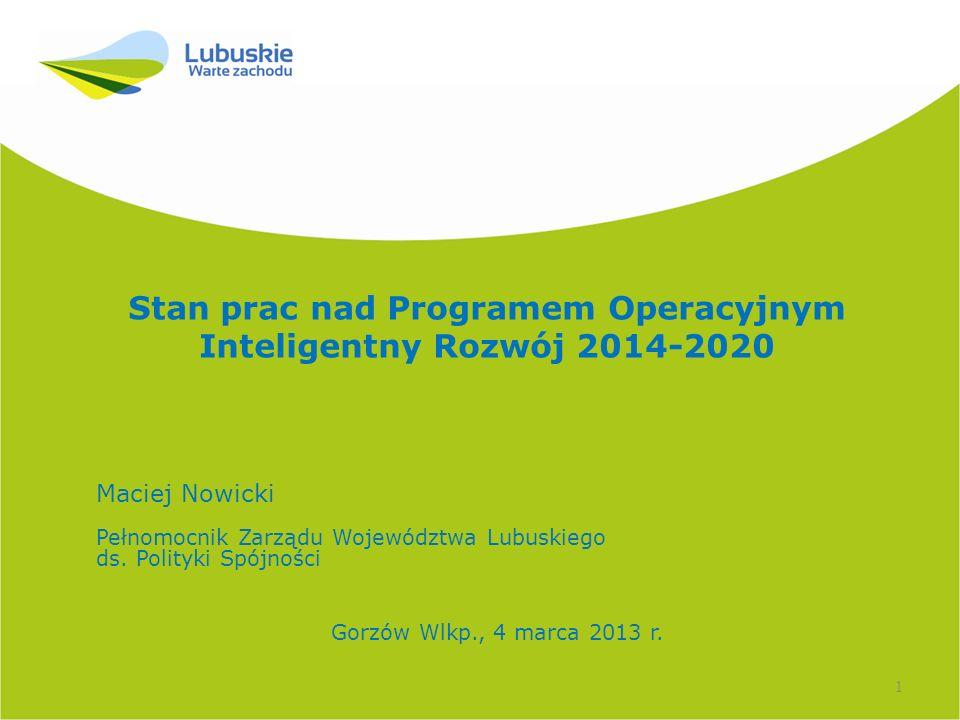 Podstawy programowania PO Inteligentny Rozwój 2014-2020 1.Strategia Europa 2020, 2.Wspólne Ramy Strategiczne 2014-2020, Wieloletnie Ramy Finansowe, pakiet legislacyjny Polityki Spójności 2014-2020 – projekty rozporządzeń UE - 11 celów tematycznych - ring fencing – 50% środków na cele 1 - 4 3.Strategie krajowe: Strategia Rozwoju Kraju 2020, Długookresowa Strategia Rozwoju Kraju - Polska 2030, Strategia Innowacyjności i Efektywności Gospodarki, Strategia Rozwoju Kapitału Ludzkiego (projekt) 4.Założenia Umowy Partnerstwa - układ programów operacyjnych 2