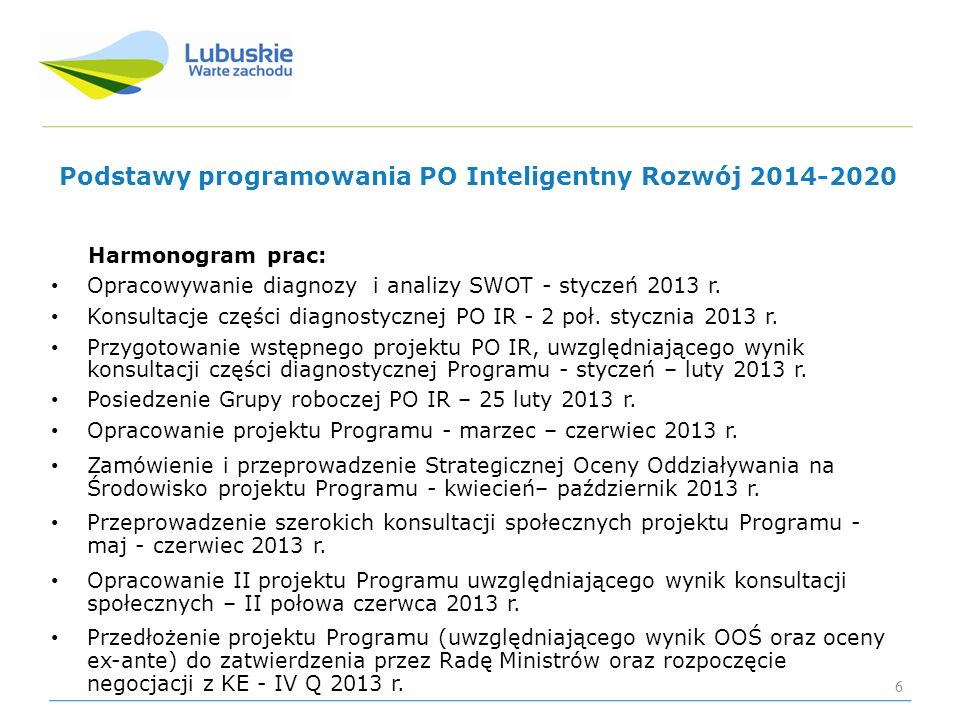 Podstawy programowania PO Inteligentny Rozwój 2014-2020 Harmonogram prac: Opracowywanie diagnozy i analizy SWOT - styczeń 2013 r. Konsultacje części d