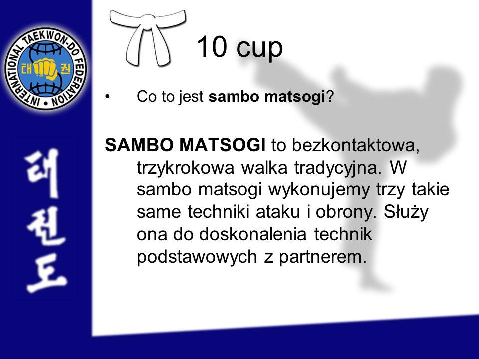 10 cup Co to jest sambo matsogi? SAMBO MATSOGI to bezkontaktowa, trzykrokowa walka tradycyjna. W sambo matsogi wykonujemy trzy takie same techniki ata