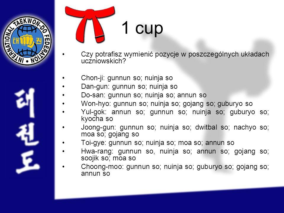 1 cup Czy potrafisz wymienić pozycje w poszczególnych układach uczniowskich? Chon-ji: gunnun so; nuinja so Dan-gun: gunnun so; nuinja so Do-san: gunnu