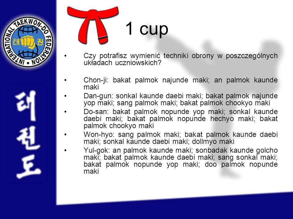 1 cup Czy potrafisz wymienić techniki obrony w poszczególnych układach uczniowskich? Chon-ji: bakat palmok najunde maki; an palmok kaunde maki Dan-gun