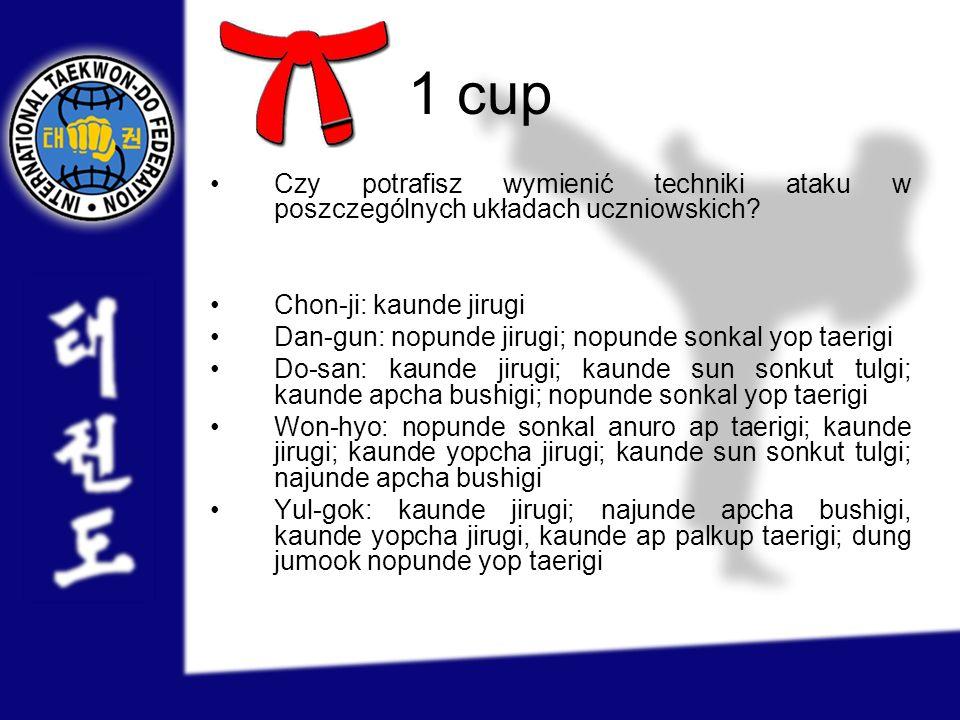 1 cup Czy potrafisz wymienić techniki ataku w poszczególnych układach uczniowskich? Chon-ji: kaunde jirugi Dan-gun: nopunde jirugi; nopunde sonkal yop