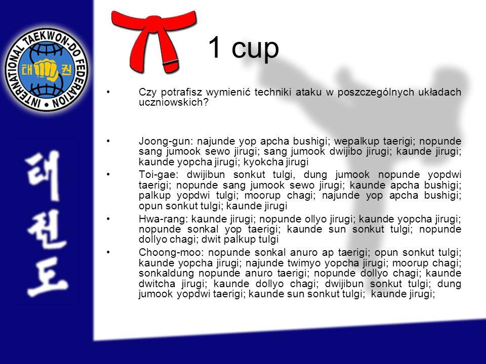 1 cup Czy potrafisz wymienić techniki ataku w poszczególnych układach uczniowskich? Joong-gun: najunde yop apcha bushigi; wepalkup taerigi; nopunde sa