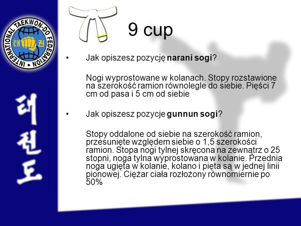 9 cup Jak opiszesz pozycję narani sogi? Nogi wyprostowane w kolanach. Stopy rozstawione na szerokość ramion równolegle do siebie. Pięści 7 cm od pasa