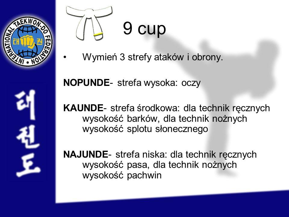 9 cup Wymień 3 strefy ataków i obrony. NOPUNDE- strefa wysoka: oczy KAUNDE- strefa środkowa: dla technik ręcznych wysokość barków, dla technik nożnych