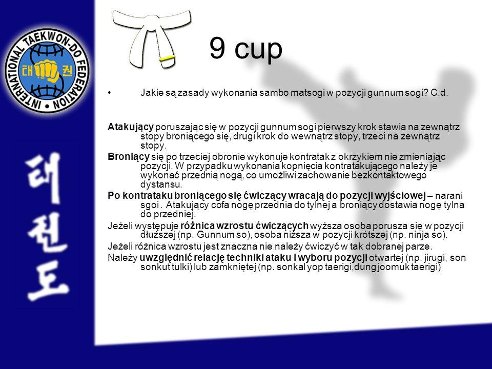 9 cup Jakie są zasady wykonania sambo matsogi w pozycji gunnum sogi? C.d. Atakujący poruszając się w pozycji gunnum sogi pierwszy krok stawia na zewną