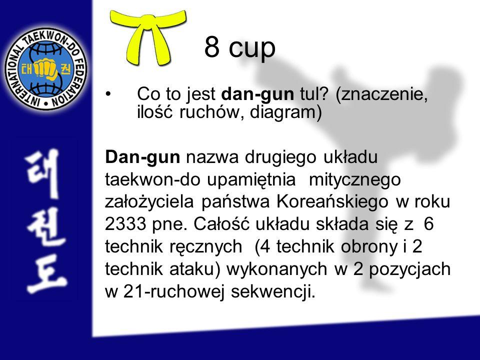 8 cup Co to jest dan-gun tul? (znaczenie, ilość ruchów, diagram) Dan-gun nazwa drugiego układu taekwon-do upamiętnia mitycznego założyciela państwa Ko
