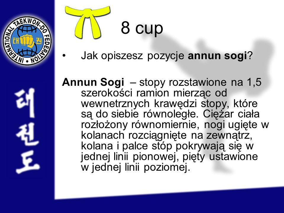 8 cup Jak opiszesz pozycje annun sogi? Annun Sogi – stopy rozstawione na 1,5 szerokości ramion mierząc od wewnetrznych krawędzi stopy, które są do sie