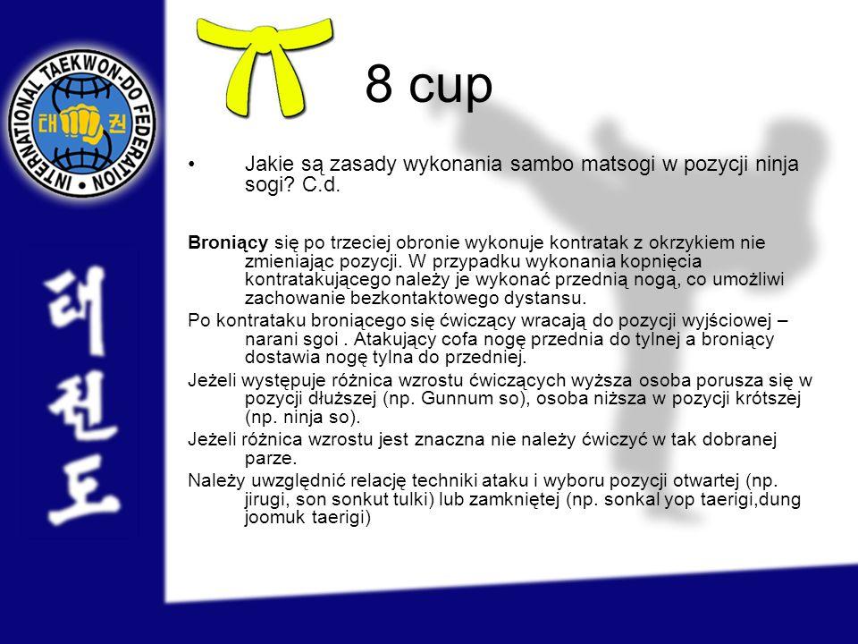 8 cup Jakie są zasady wykonania sambo matsogi w pozycji ninja sogi? C.d. Broniący się po trzeciej obronie wykonuje kontratak z okrzykiem nie zmieniają