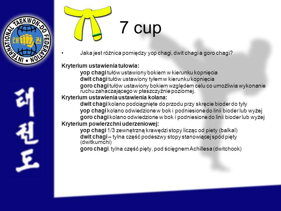 7 cup Jaka jest różnica pomiędzy yop chagi, dwit chagi a goro chagi? Kryterium ustawienia tułowia: yop chagi tułów ustawiony bokiem w kierunku kopnięc