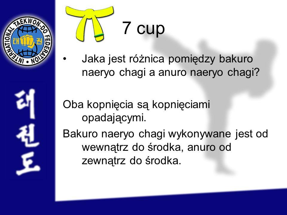 7 cup Jaka jest różnica pomiędzy bakuro naeryo chagi a anuro naeryo chagi? Oba kopnięcia są kopnięciami opadającymi. Bakuro naeryo chagi wykonywane je