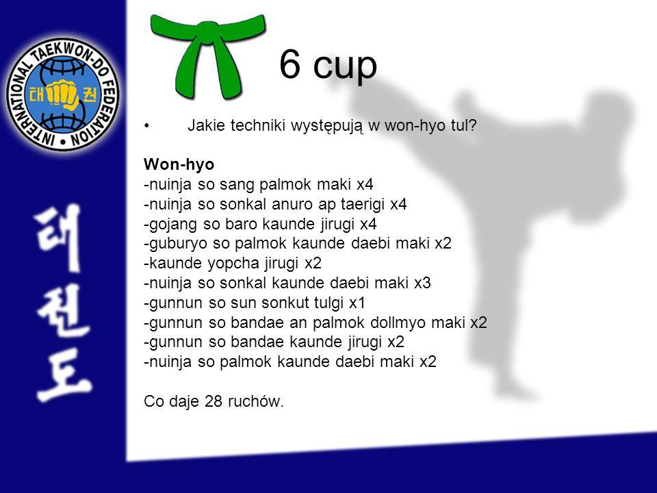 6 cup Jakie techniki występują w won-hyo tul? Won-hyo -nuinja so sang palmok maki x4 -nuinja so sonkal anuro ap taerigi x4 -gojang so baro kaunde jiru