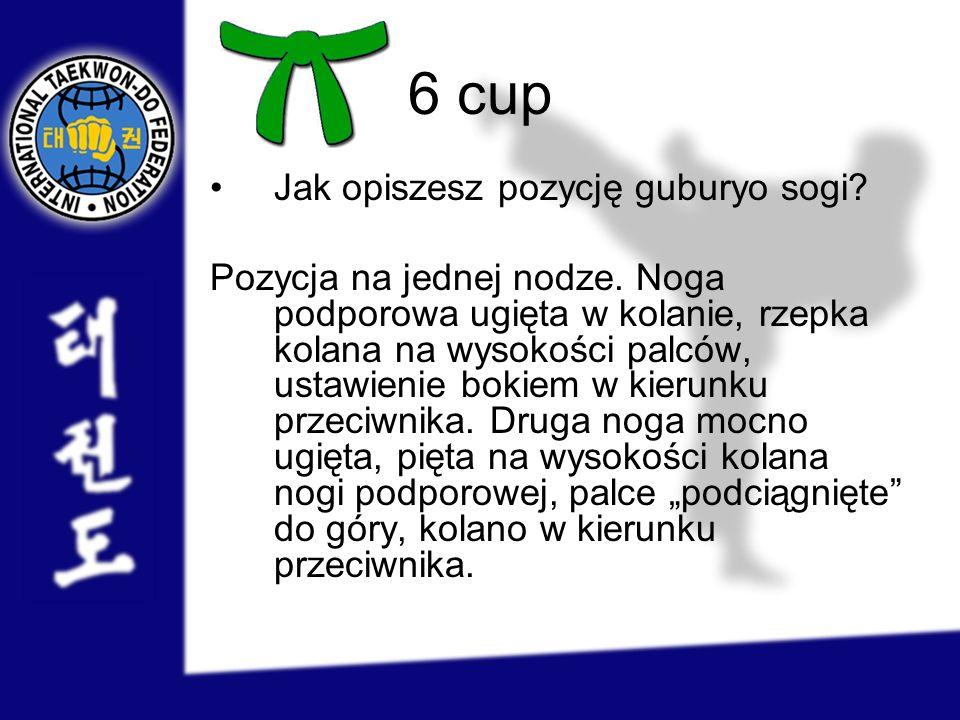 6 cup Jak opiszesz pozycję guburyo sogi? Pozycja na jednej nodze. Noga podporowa ugięta w kolanie, rzepka kolana na wysokości palców, ustawienie bokie