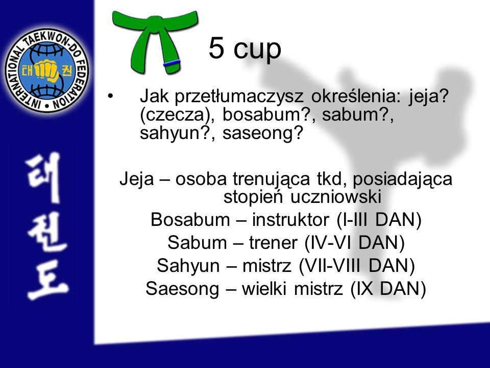 5 cup Jak przetłumaczysz określenia: jeja? (czecza), bosabum?, sabum?, sahyun?, saseong? Jeja – osoba trenująca tkd, posiadająca stopień uczniowski Bo