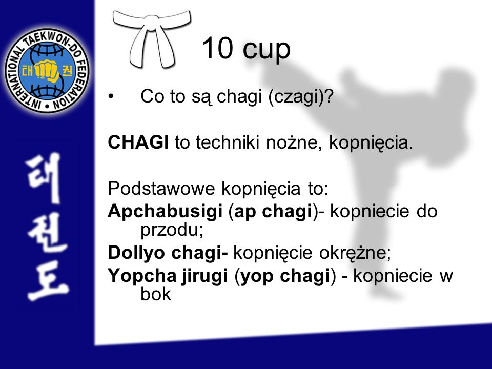 1 cup Jakie techniki występują w choong-moo tul.