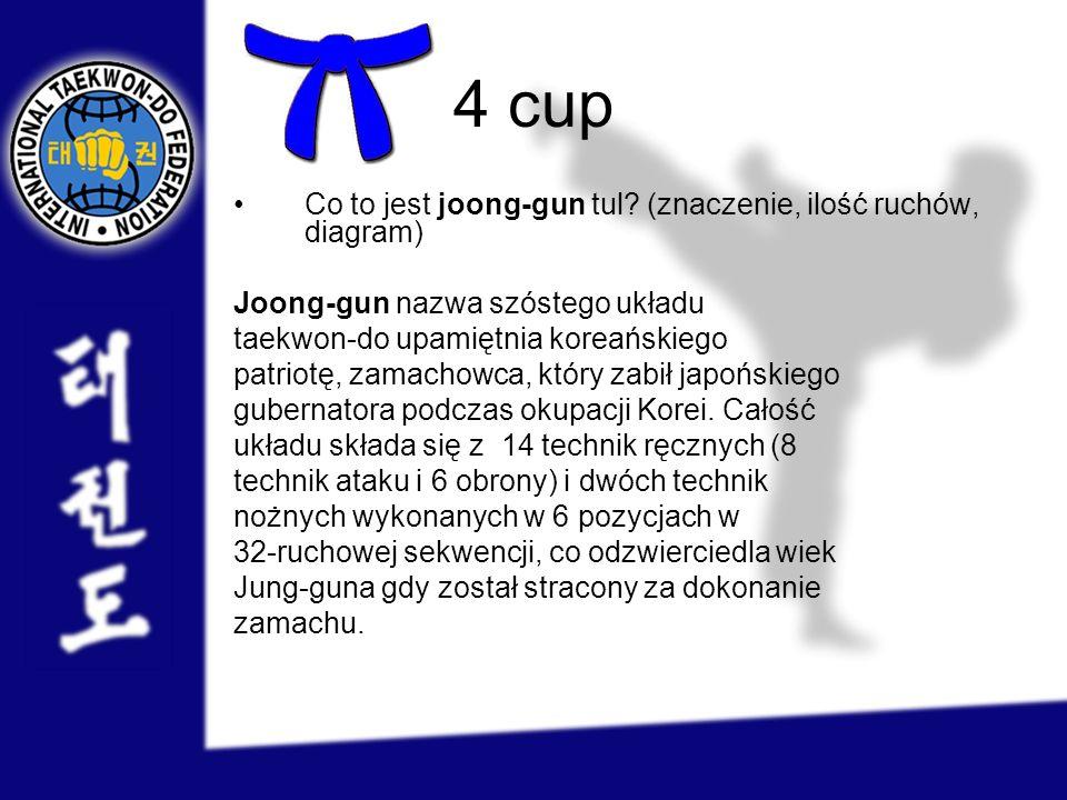 4 cup Co to jest joong-gun tul? (znaczenie, ilość ruchów, diagram) Joong-gun nazwa szóstego układu taekwon-do upamiętnia koreańskiego patriotę, zamach